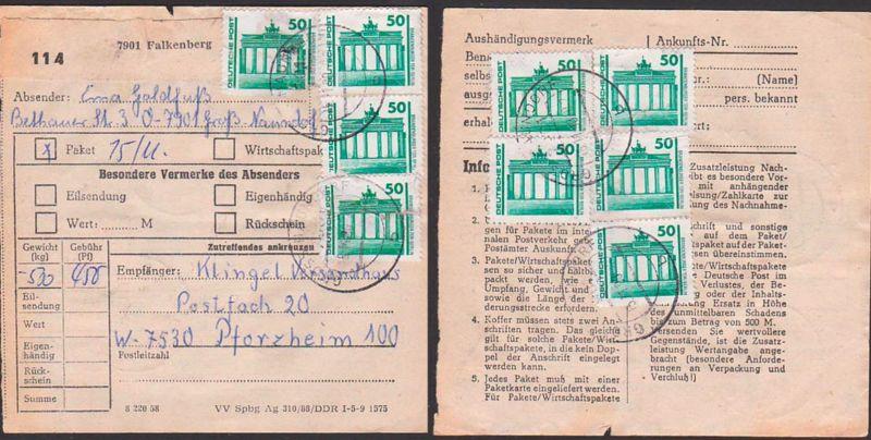 DDR Paketkarte mit 50 Pf DM-Währung Brandenburger Tor in MeF(9) aus Falkenberg nach Pforzheim, Postinterna 15.11.90