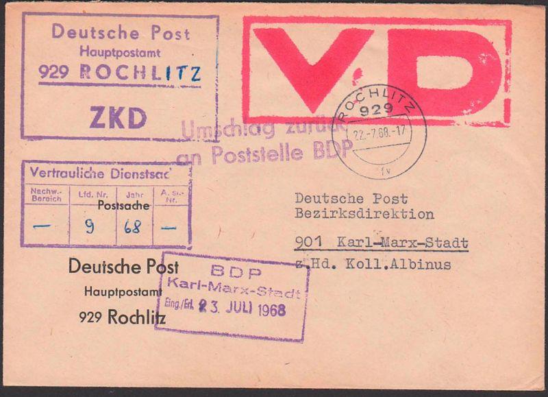 Rochlitz Gemany ZKD-Brief 22.7.68 Postsache Deutsche Post Hauptpostamt Vertrauliche Dienstsache roter VD-Stempel