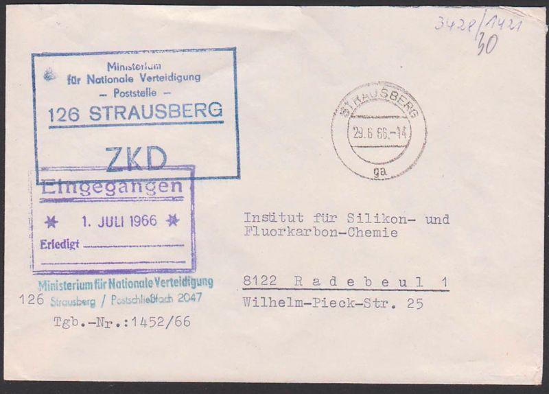 Strausberg Ministerium für Nationale Verdeitigung ZKD-Kastenst. in blau, 29.6.66, mit Tagbuch-Nr.