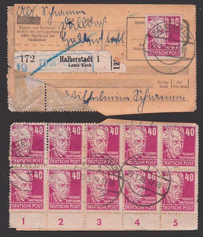 Dalldorf Halberstadt Louis Koch, Paketkarteilteil, 40 Pfg. (11) Gerhardt Hauptmann 22.1.49, Mkn teils beschädigt