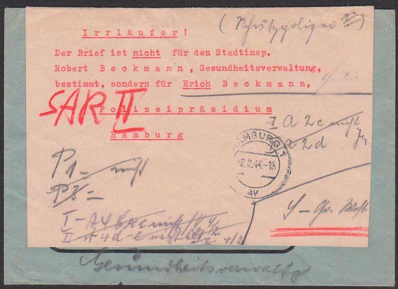 JENA AFS CARL ZEISS 28.1.44 n. Hamburg 2.2.44, Irrlläufer-Aukleber nicht Stadtinspektor, sondern Polizeipräsidium,