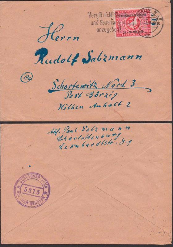 SBZ sowjetische Zensur 5215, Abs. Berlin-Charlottenburg  - Ostberlin N4 aufgegeben 11.11.49 n. Schortewitz Görzig Köthen