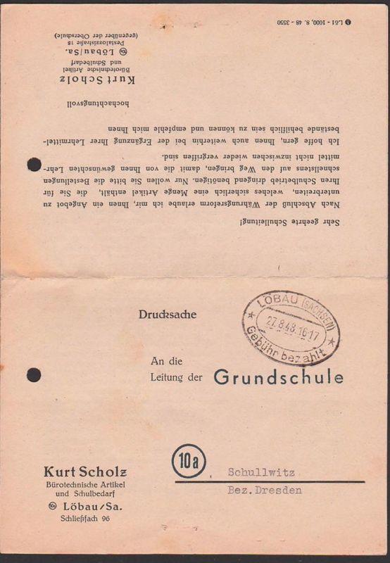Löbau Barfrankatur 1948 Gebühr bezahlt - Stempel 27.8.48, SBZ Drucksache an Grundschule Schullwitz, Lehrmittelangebot