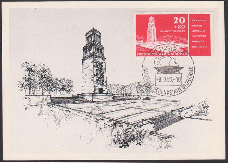 MC Max-Karte Buchenwald Nationale Gedenkstätte Weimar Glockenturm DDR 20 + 80 Pf.