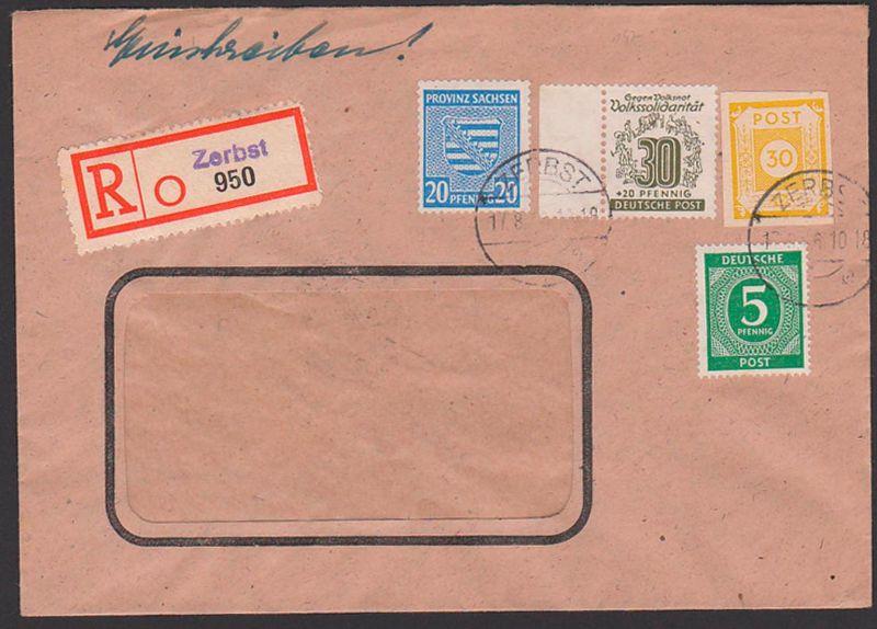 ZERBST 17.8.46 R-Brief mit 30 Pf. Westsachsen, 20 Pf. Provinz Sachen, SBZ 147, 81X u.a., mit Eingangss Abs.-Klappe fehlt