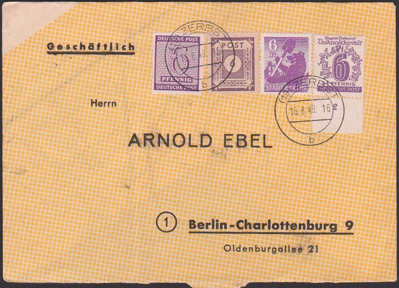 ZERBST 16.8.46 Brief mit 6 Pf. Westsachsen, 6 Pf. Berliner Bär, SBZ 142 u.a., nach Charlottenburg, auf Landkartenpapier
