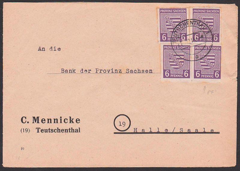 Provinz Sachsen, SBZ 69X(4) 6 Pfg. geschnitten, mit Plattenfeher neu ru. Mke