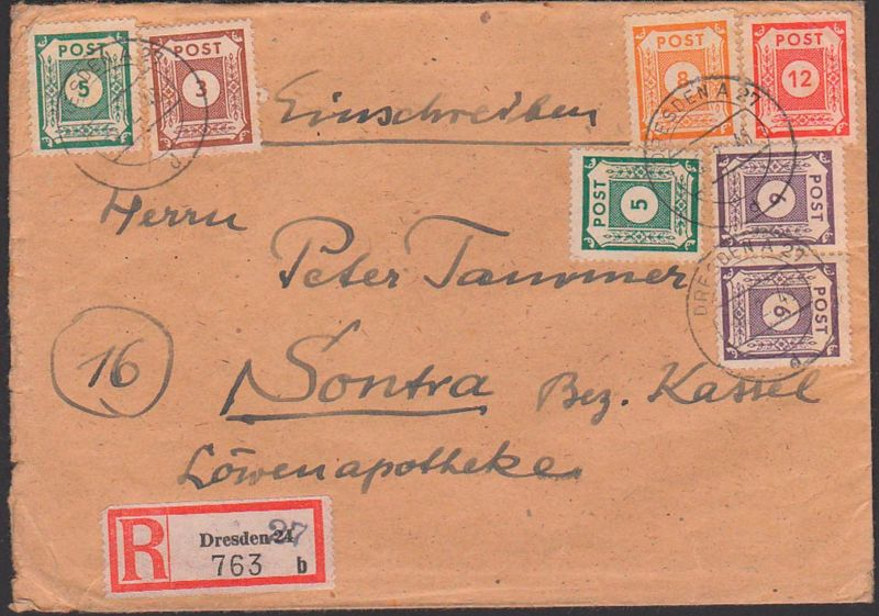 OPD Ost-Sachsen, SBZ R-Brief DRESDEN 27 mit R-Zettel von 24, überstempelt, MiF von Ziffern nach Sontra Bez. Kassel