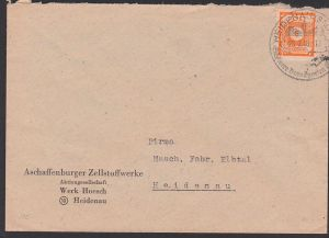 OPD Ost-Sachsen, SBZ 59 8 Pfg. auf Ortsbrief SoSt. Heidenau Barockgarten Großsedlitz 25.2.46, Zellstoffwerke Hoesch
