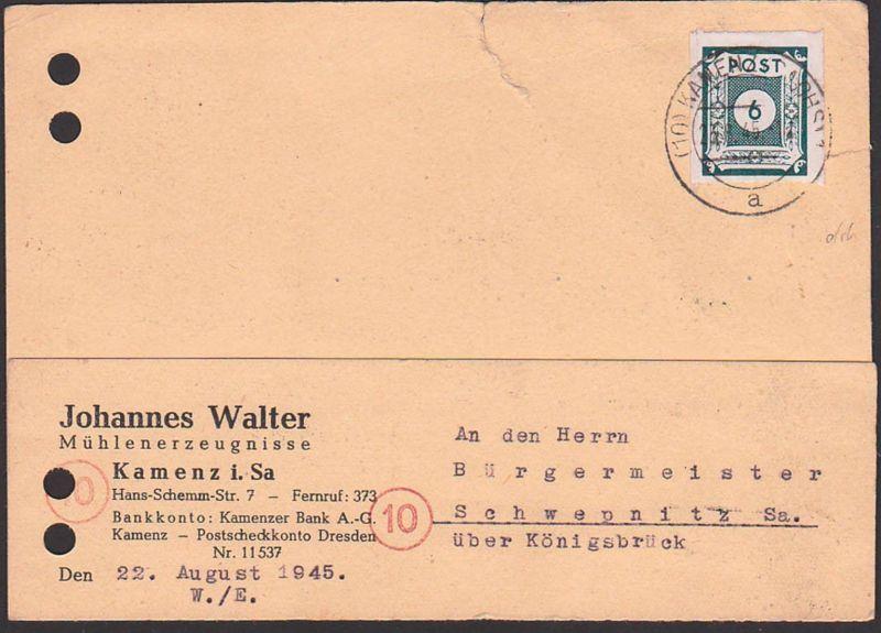 OPD Ost-Sachsen, SBZ 43bIIB 6 Pfg. auf Fernkarte Kamenz - Schwepnitz, geprüft Leonhardt, Karte Aktenlochung, Riss