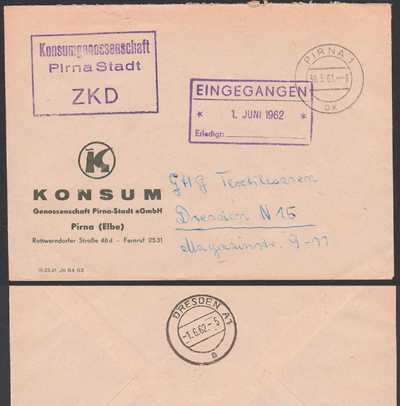 Pirna Kastenst. Konsumgenossenschaft DDR ZKD, Zentraler Kurierdienst der DDR, Pirna 30.5.61