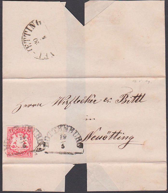 HOTTENBURG Bayern Faltbrief mit 3 Kr. geschnitten 19.5.1869 nach Neuötting