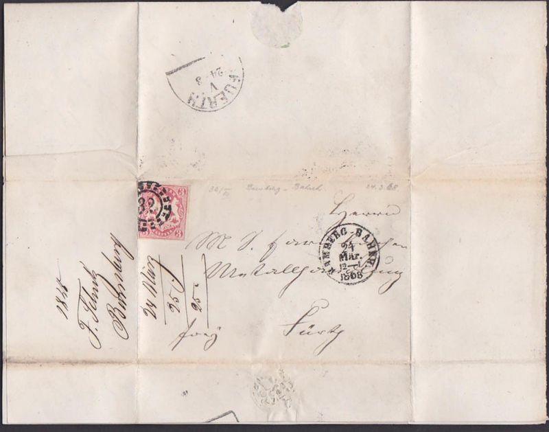 BAMBERG BAHNH Bayern Faltbrief mit 3 Kr. geschnitten 24.3.1868 nach Fürth, Mühlradst. Nr. 32