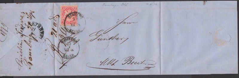 BAMBERG BAHNH Bayern Faltbrief mit 3 Kr. gez.  20.9.1870 nach Markt Breit