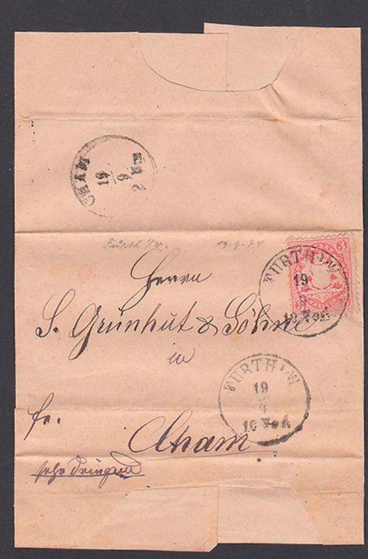 FÜRTH i. W.Bayern Faltbrief mit 3 Kr. gez.  13.9.1874 nach Cham