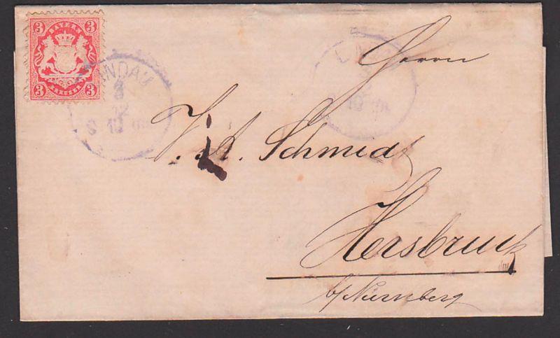 LINDAU Bayern Faltbrief mit 3 Kr. gez.  nach Hersbruck bei Nürnberg