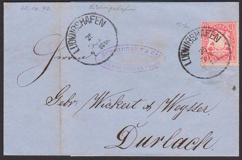 LUDWIGSHAFEN Bayern Faltbrief 25.10.1872 mit 3 Kr. gez. nach Durlach