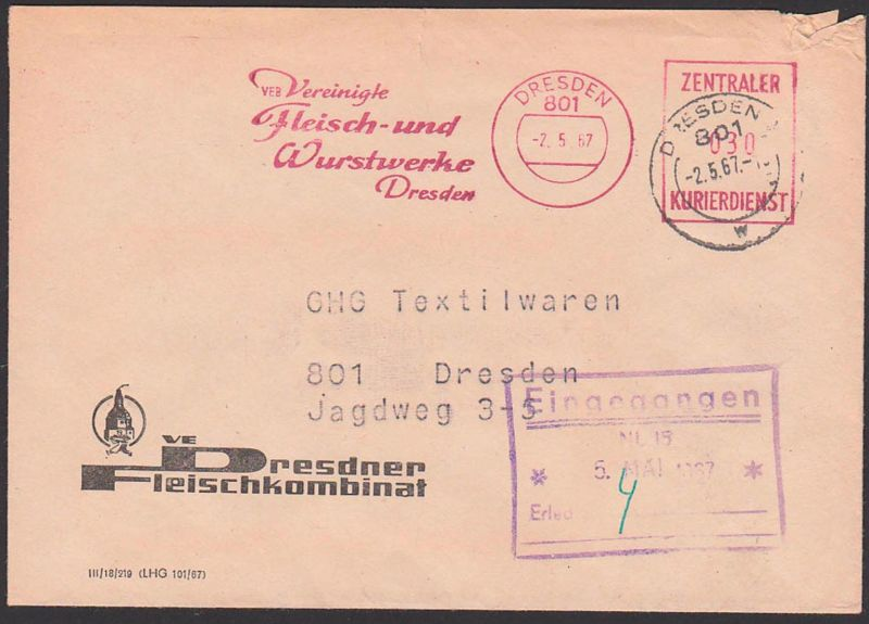 ZKD-AFS DRESDEN VEB Vereionigte Fleisch- u. Wurstwerke Ortsbrief 2.5.67, DDR, Germany east