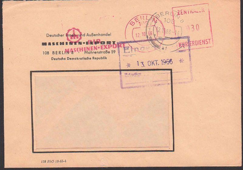BERLIN , DDR ZKD AFS =030= 12.10.66 Deutscher Innen- und Außemhandel Maschinen-Export