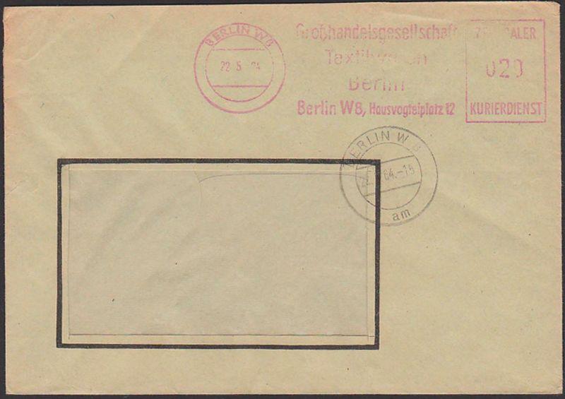 Germany East BERLIN W8 ZKD-Brief AFS  =020=. 22.5.64, Großhandelsgesellschaft Textilwaren
