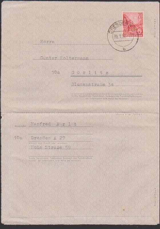 DDR Faltbrief F1a aus Dresden nach Görlitz mit Text 30.1.57, 20 Pfg. Berlin Stalinallee Ganzsachen-Umschlag