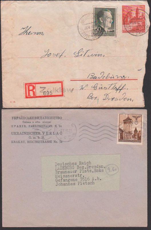 Zolkiew Ukraine  Generalgouvernement 1942, Ganzsache R-Brief - 2 Gr. Brief Krakau Krakiw Ukrainischer Verlag