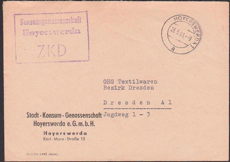 ZKD Hoyerswerda Kastenstempel 28.5.64 von Konsumgenossenschaft Stadt-Konsum-Genossenschaft e.G.m.b.H.