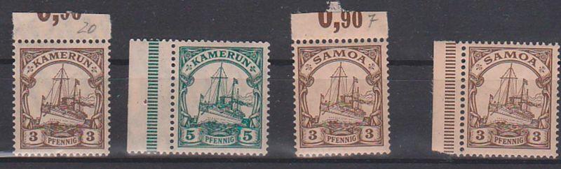 Kamerun Samoa 4 Werte postfrisch, Falz auf dem Rand, Segelschiff, Kolonie