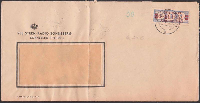 DDR ZKD B21G VEB Sternradio Sonneberg SOBRA Brief gefaltet, 30.11.59, Zentraler Kurierdienst