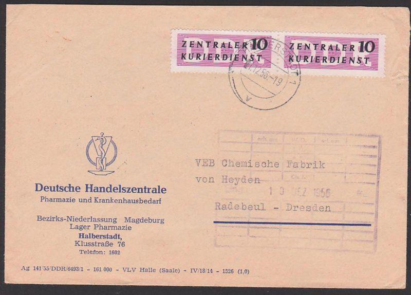 DDR ZKD B6(2) Brief Magdeburg ZKD-Streifen Abs. Pharmazie Krankenhausbedarf. 7.12.56, Zentraler Kurierdienst der DDR