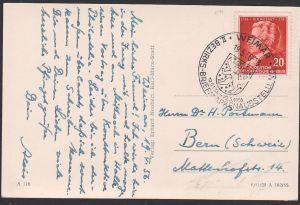 Mozart, W.A. 20 Pf. DDR 511 portogenau auf AuslandsAk Weimar Goethe-Schiller-Denkmal SoSt. Bezirksbriefm. Ausstellung
