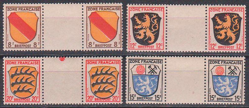Franz. Zone postfrisch angegebene Werte mit Zwischensteg.  8/Z/8, 12/Z/12, 20/Z/20, 15/Z/15