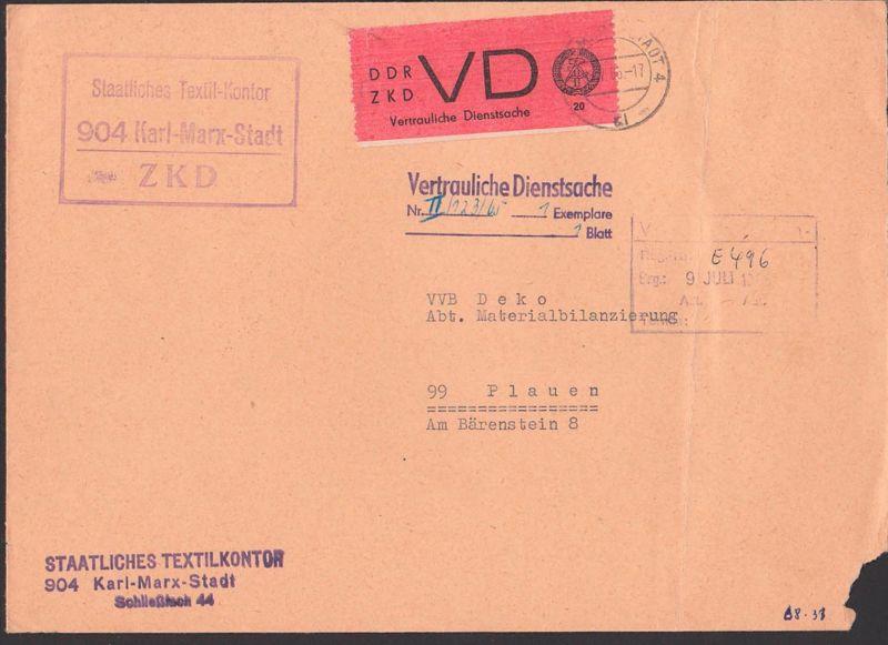 Karl-Marx-Stadt DDR ZKD-Brief 8.7.65 D1 Vertrauliche Dienstsache Staatliches Textil-Kontor nach Plauen
