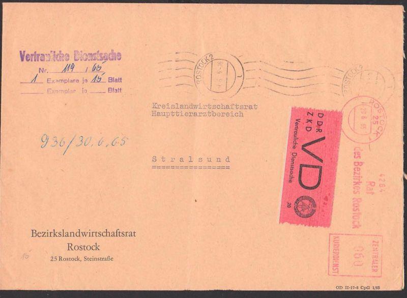 Rostock DDR ZKD-Brief mit AFS 29.6.65 D1 Vertrauliche Dienstsache Rat des Bezirkes, Bezirkslandwirtschaftsrat