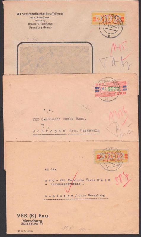 Jlsenburg, Leuna Kreis Merseburg, Halle, 3 ZKD-Briefe 19A, 19F, 27V, je sammelunwürdig durch Einriss gemacht