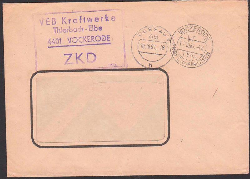 Vockerode üb. Gräfenhainichen ZKD-Brief VEB Kraftwerke Thierbach - Elbe 10.10.67