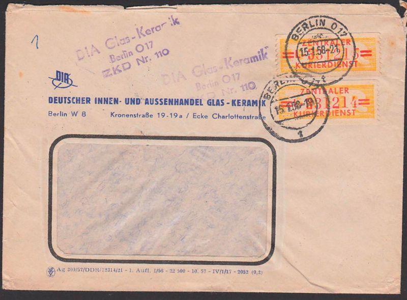 Germany East BERLIN O17 ZKD-Brief 17L Doppelbrief  DIA Glas Keramik ZKD-Nr. 110, 15.1.58, Innen- und Außenhandel