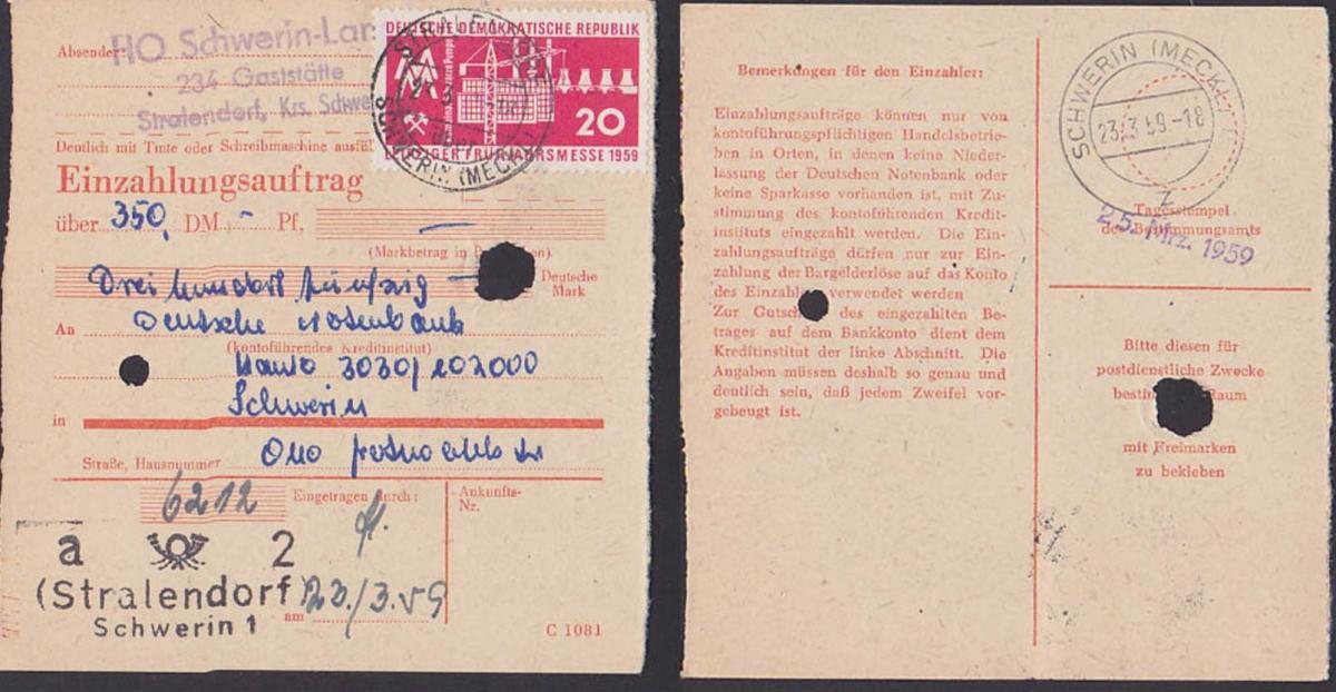 Stralendorf  über Schwerin DDR Einzahlungsauftrag  23.3.59 Leipziger Messe 1959 MM, Kombinat Schwarze Pumpe Aufbau