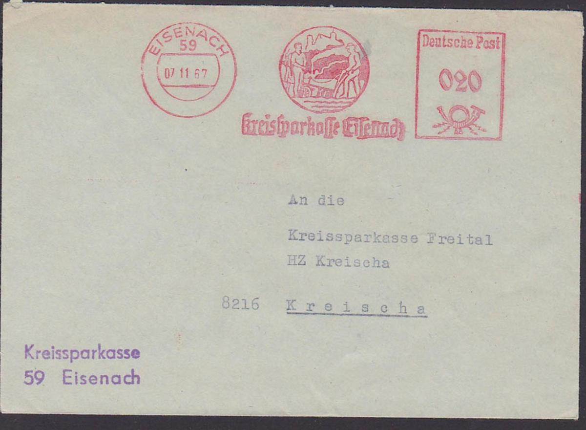 Eisenach AFS Kreisspakasse 7.11.67, Wartburg und Landwirt mit Pflug und Spaten DDR