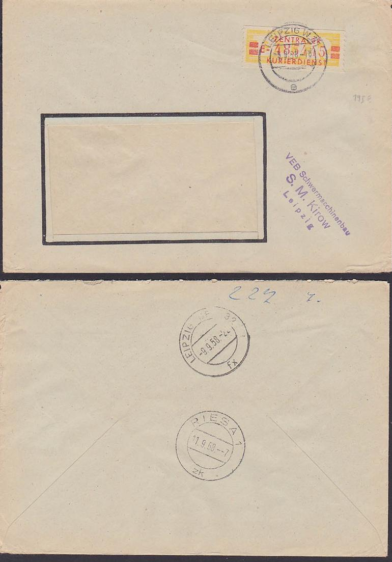Germany East ZKD-Brief B 19IE Leipzig VEB Schwermaschinenbau S. M. Kirow nach Riesa 9.9.58