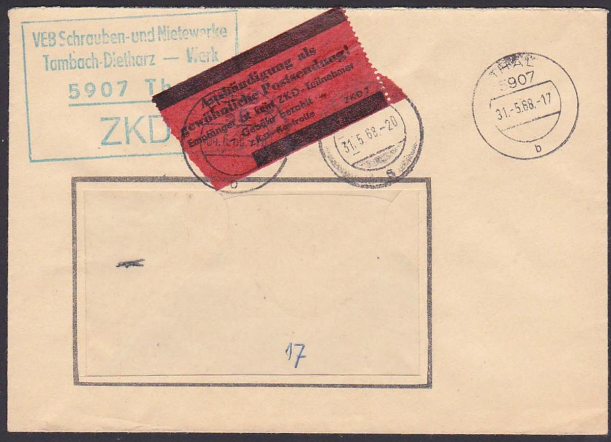 THALE ZKD-Brief mit rotem ZKD-Kontrolle für