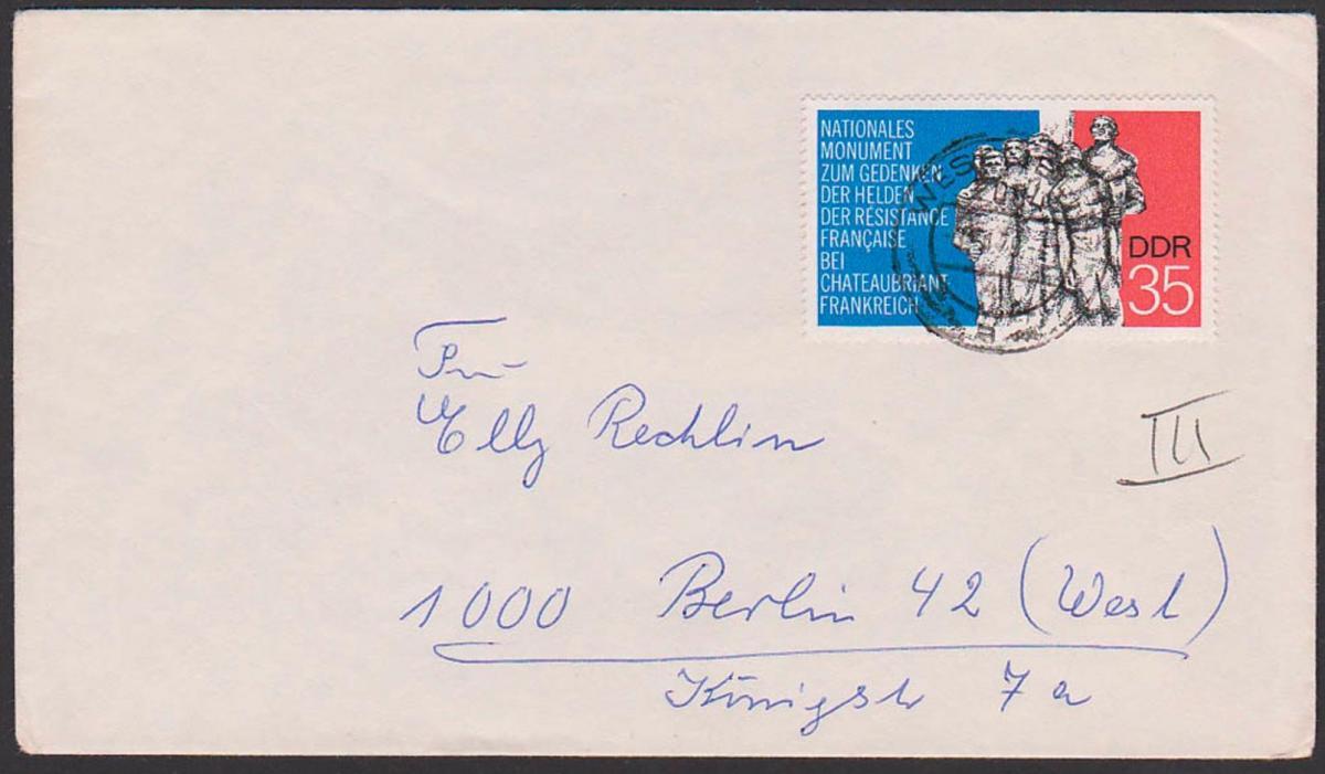 Chateaubriant Nationales Monument Helden der Resistance 35 Pf. Auslandsport portogenau Wesenberg Berlein-West