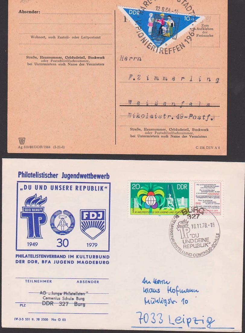 Junge Pioniere 10+5 Pfg. Dreieck DDR 1045 mit SoSt. Karl-Marx-Stadt Pioniertreffen 12.8.64, SoSt. Burg Weltfestspiele