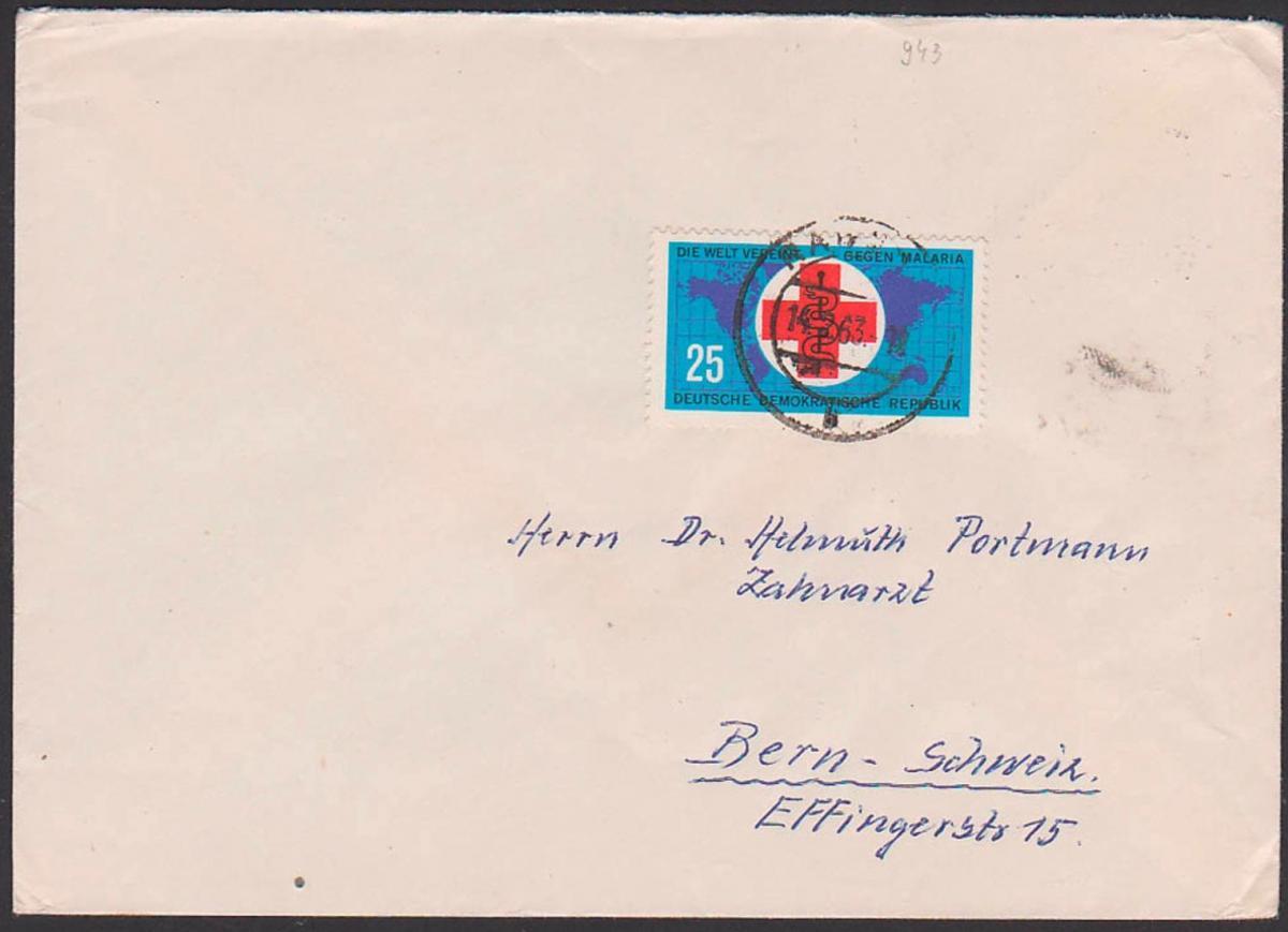 croix rouge paludisme Malaria Rotes Kreuz  DDR 643 Auslandsbrief Raguhn