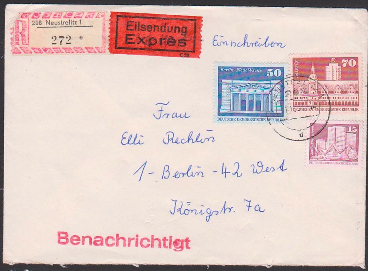 DDR Auslandsbrief Express Einschreiben Neustrelitz Brandenburger Tor Berlin  Leipzig altes Rathaus portogenau