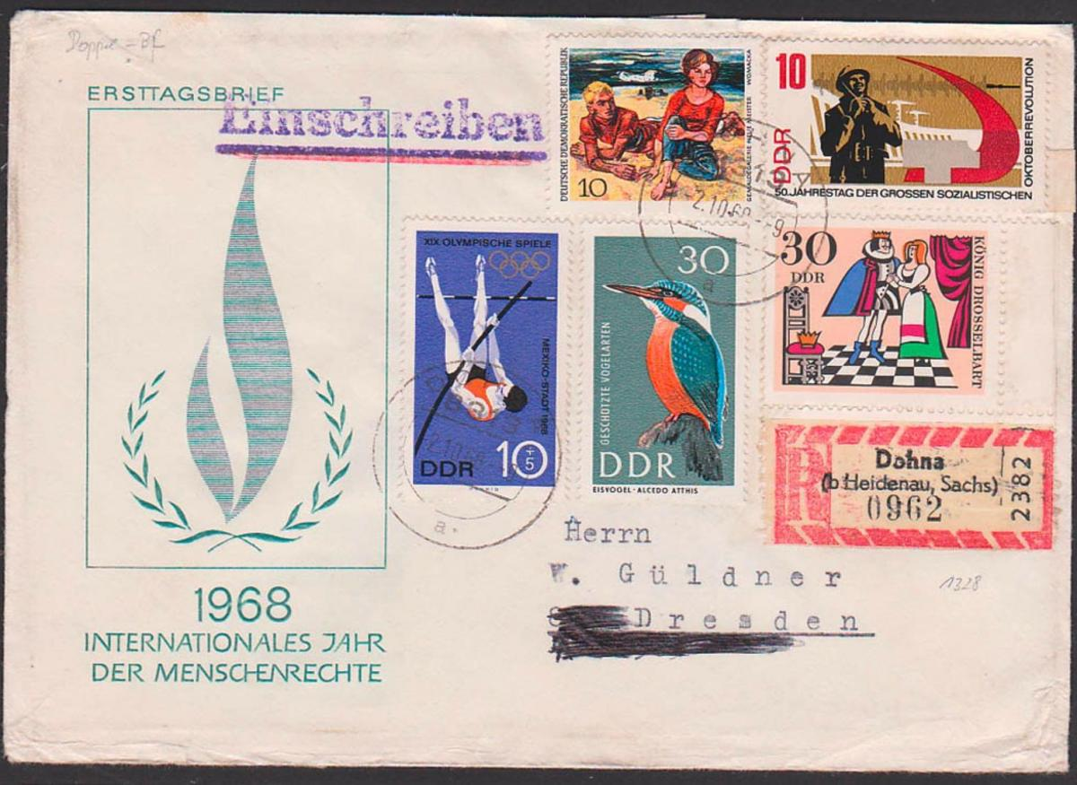 Einschreiben Dohna (b. Heidenau Sachsen) DDR 1328 Doppelbrief portogenau Stabhochsprung König Drosselbart, Eisvogel