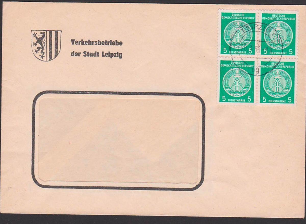Leipzig 5 Pf. Dienstmarke als 4er-Einheit Leipzig Verkehrsgebiete, BPP gepr. Wz 2XI, roter Gummist. Fünfjahrplan 20.3.5