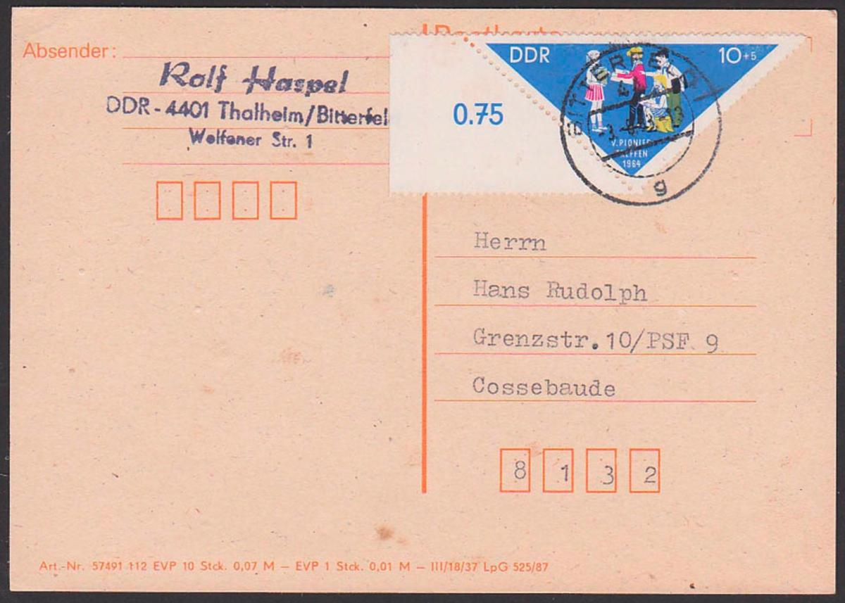 DDR 10+5 Pfg. Pioniertreffen Dreieckmarke mit Rand Karte Bitterfeld nach Cossebaude