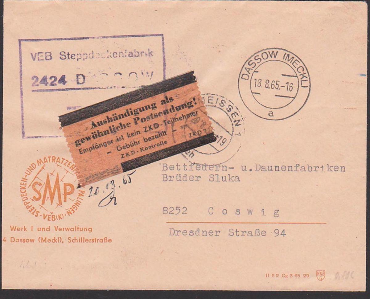 Dassow (Mecklenburg) VEB Steppdeckenfabrik nach Coswig mit gelben Streifen