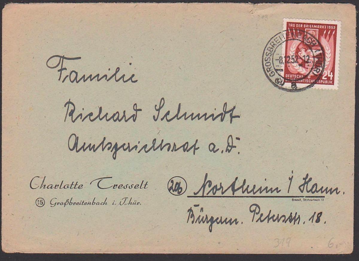 Germany DDR 319 24 Pf. Tag dr Briefmarke 1952 Grossbreitenbach Thüringen 8.12.52 nach Northeim